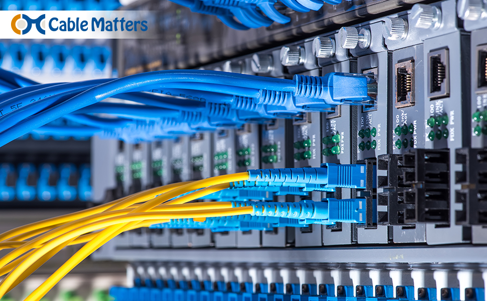 Cable Matters 10Gb Multimode Duplex 62 5/125 OFNP Fiber Cable (LC to SC  Fiber Optic Cable / SC to LC OM1 Fiber Patch Cable) 1m