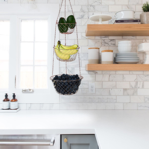 malmo 3-Tier Wire Fruit Hanging Basket, Vegetable Kitchen Storage Basket  (Black)