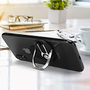 HENGBANG Multipurpose Phone Bracket, Phone Ring Holder - Two in ONE Multipurpose Mobile Phone Bracket Holder Stand 360 Degree Rotation for Car Home, Multiple-Angle Car Phone Mount(Silver)