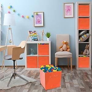 Amazon Com Sorbus Foldable Storage Cube Basket Bin 6 Pack Orange