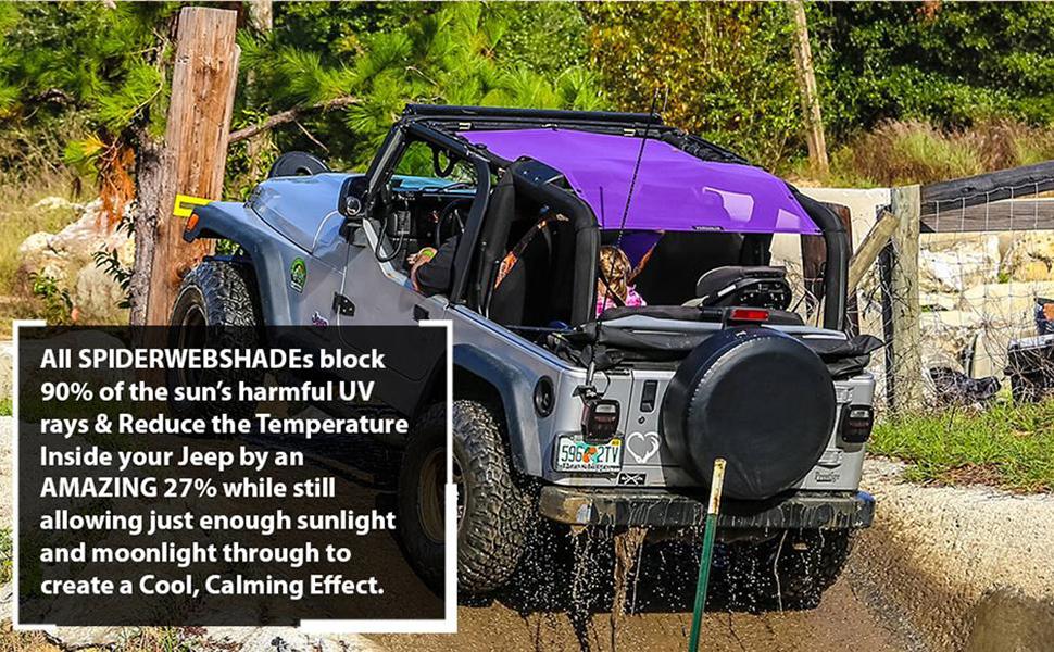 Jeep Accessories Spiderwebshade Sunshade Mesh Top