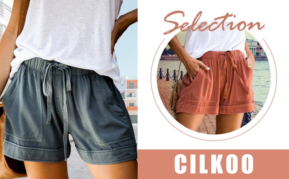 S-XXL CILKOO Womens Comfy Drawstring Casual Elastic Waist Pocketed Shorts