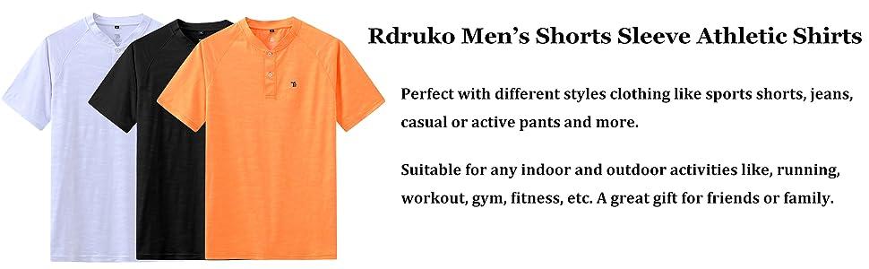 RDRUKO MEN'S HENLEY SHIRTS