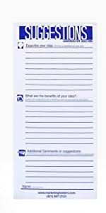 """Marketing Holders - 3-1/2"""" w x 8-1/2"""" h Suggestion Forms - 25 Forms Per Pad"""