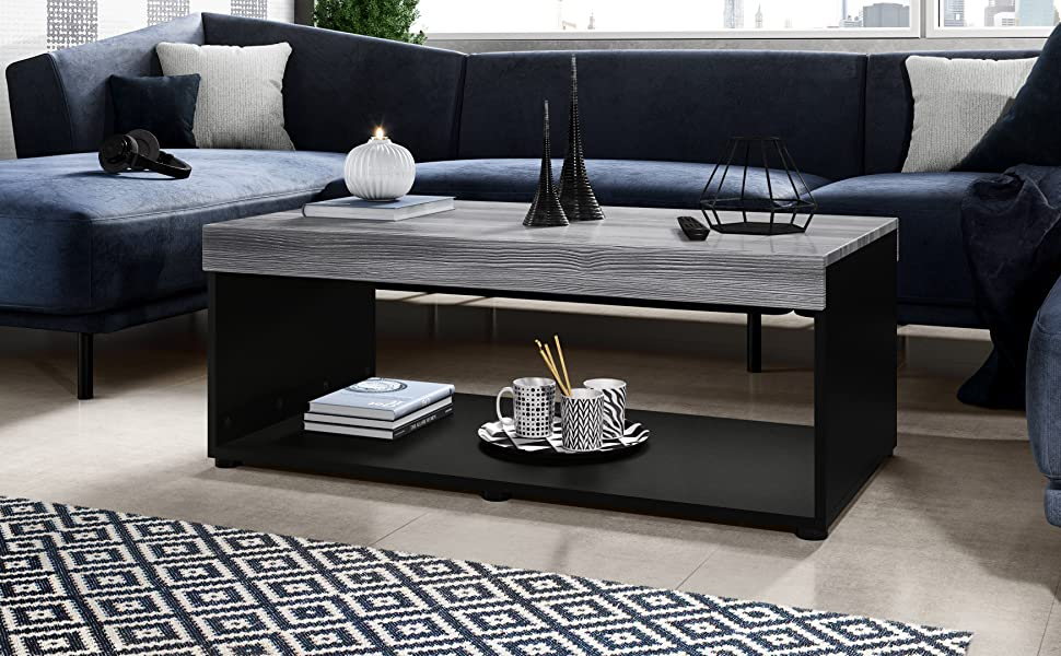 Sala de estar mesa sofá mesa auxiliar mesa blanca y negro mate o brillante