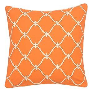 orange rope pillow bright vibrant levtex home