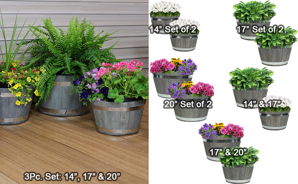 Outdoor traditional modern fiber clay pottery sturdy flower pot planter set options