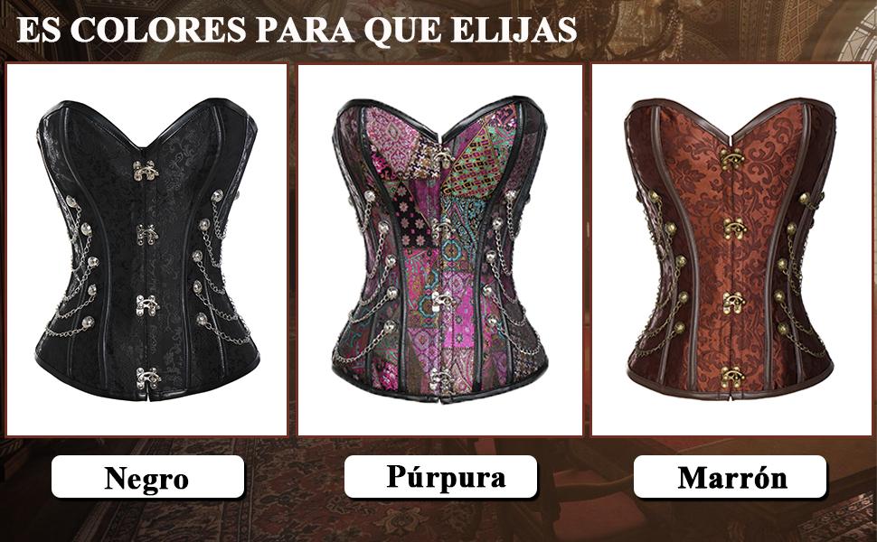 MISS MOLY Steampunk Cors/é de Jacquard para Mujer Espiral Acero Cintura Bustier con Encaje y Tiras Adjustado