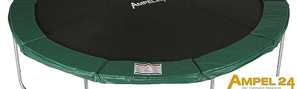 Ampel 24 trampoline met groene omranding als beschermrand over de veren en het zilverkleurige frame.