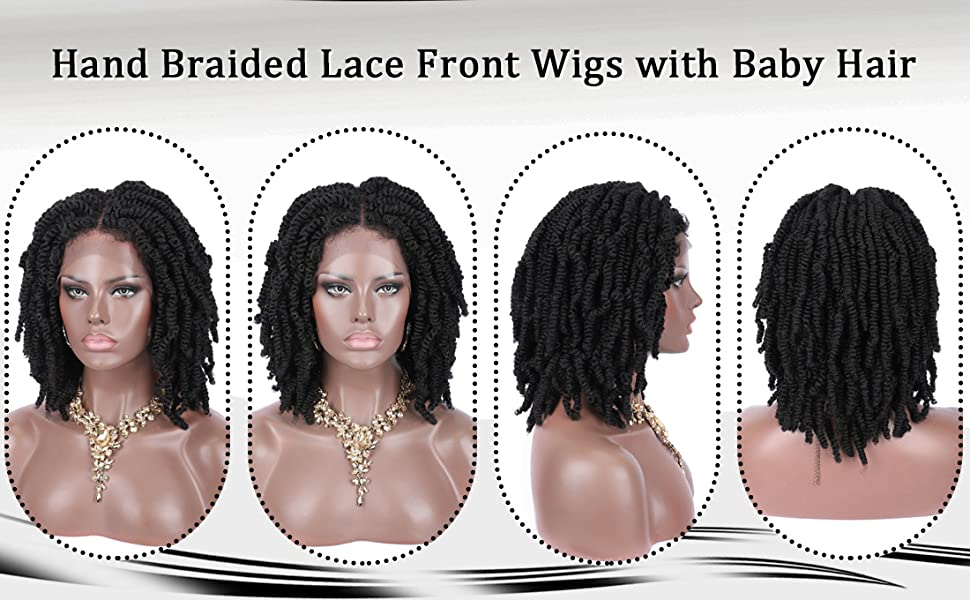 "12"" Hand Braided 4X4"" Lace Front Twist Braids Wigs for Women Lightweight Braiding Spring Hair"