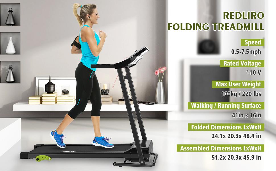 REDLIRO Walking Machine Folding Jogging Treadmill Incline Space Saving Running Exercise Training