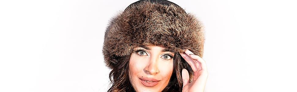 Sheepskin Leather Bucket Winter Beanie Hat