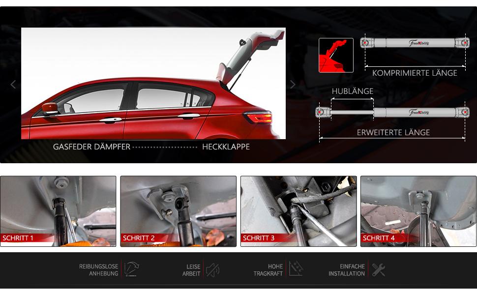 Gasfeder Dämpfer Heckklappe 400N L 502mm Hub 195mm für Honda Civic VII Hatchback