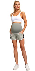 Materntiy Side Mesh Yoga Shorts Summer Workout Active Shorts with Pockets