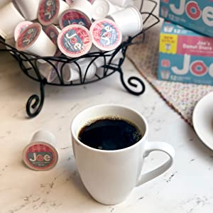 Joe Knows Coffee. The perfect cup. Dark, bold, rich, smooth, medium roast. Single serve coffee