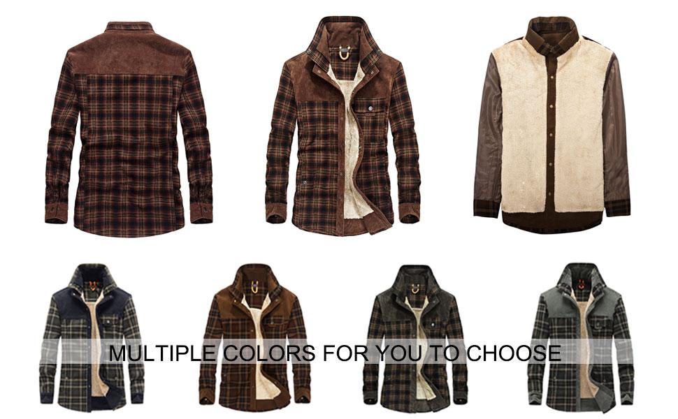 Men's Plaid Sherpa Lined Shirt Jacket Long Sleeve Winter Flannel Fleece Coats
