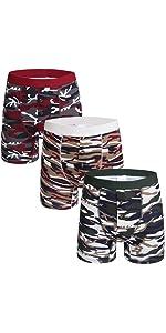 Men Camo Button Fly Long Sports Boxer Shorts Cotton