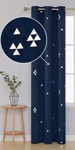 Blackout Grommet Curtains Pair Thermal Insulated Window Curtains with Triangle Printed Dining Room