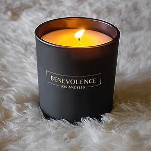 benevolence la hand poured soy wax essential oil candles black matte vessel