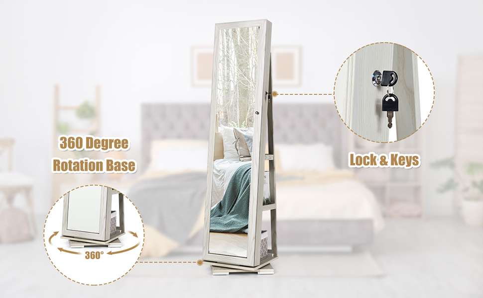 Jewelry Armoire with Higher Full Length Mirror