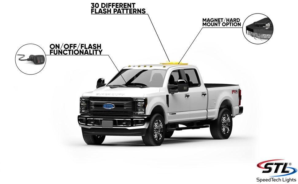 "18"" Mini Light Bar 120 Watts LED Strobe Lights Trucks Cars Plow Emergency Vehicles Magnetic Mount"