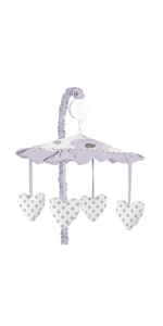 Lavender Purple, Pink, Grey and White Musical Baby Crib Mobile for Watercolor Floral Collection