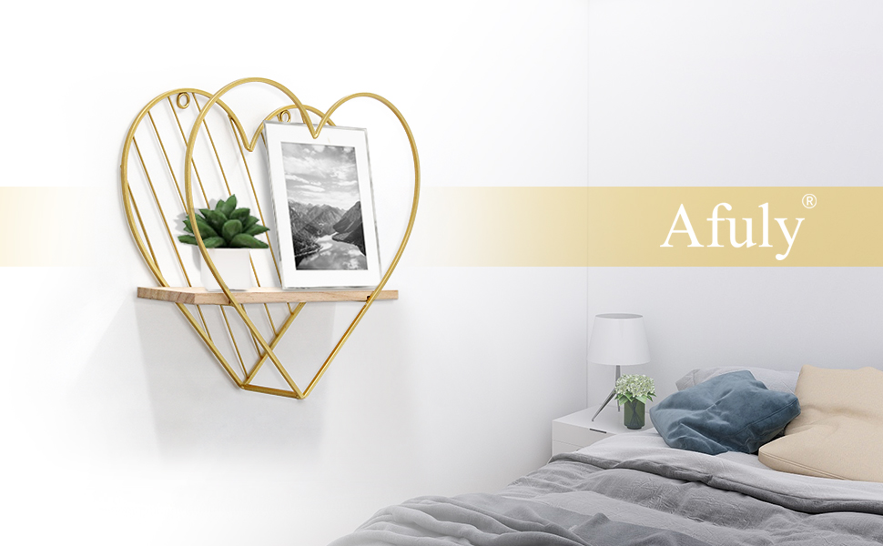 Gold heart floating shelves