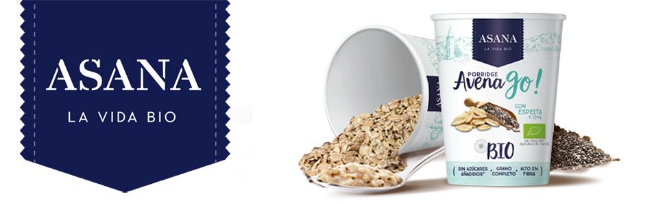 Porridge Ecológico de Avena con Espelta y Chía. Sin Azúcar Añadido. Granos Enteros de Avena y Espelta. Preparación Instantánea.1 Unidad de 55 g: Amazon.es: Alimentación y bebidas