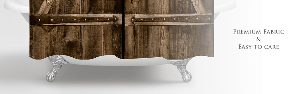 Wooden Farmhouse Barn Door Shower Curtain