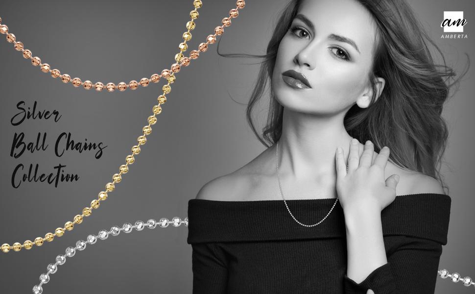 Amberta Gioielli - Collanina - Catenina Argento Sterling 925 - Modello Sfere Diamantate