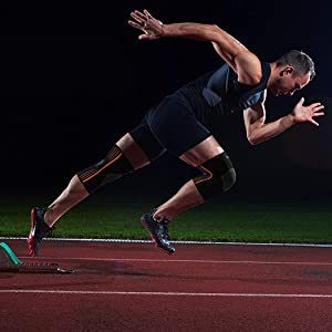 Man sprinting while wearing NeoAlly High Compression Knee Sleeves