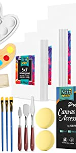 Canvas Panels Set with Painting Supplies Kit