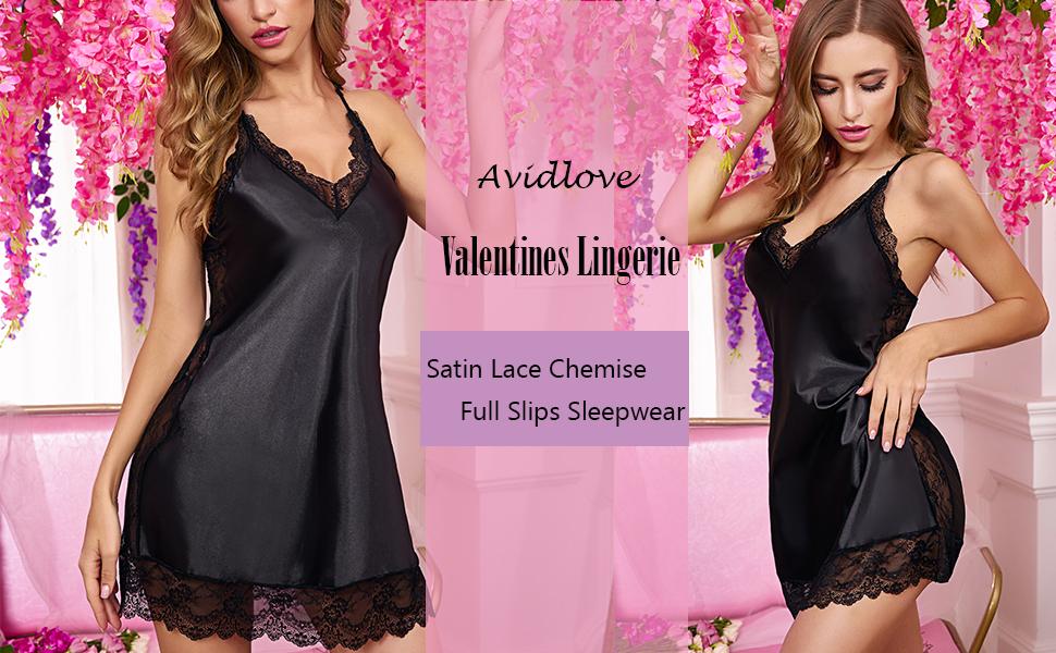 Avidlove Women Satin Nightgown Floral Lace Chemise Lingerie Silk Sleepwear