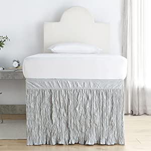 neutral light white underbed raised Twin XL extra long bed skirt for college student dorm bedding