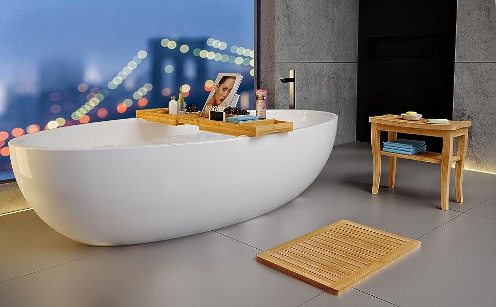 bamboo shower stool