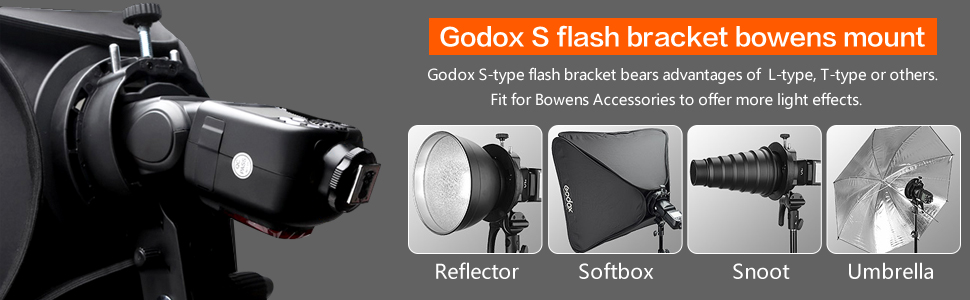 Godox S-Type Bracket Bowens Mount Holder for Speedlite Flash Snoot Softbox Octobox Beauty Dish Snoot and Reflective Umbrella Photo Studio Accessories