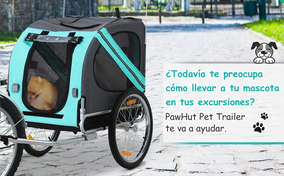 Pawhut Remolque Bicicleta Perros Mascota con Anillo Bandera ...