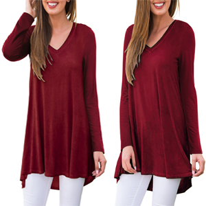 Ladies MAROON RED long Sleeve fitted Blouse Work//office//social Choose Size