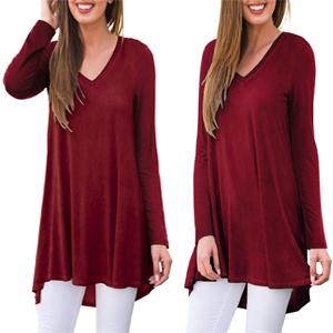 Women's Fall Long Sleeve V-Neck T-Shirt Tunic Tops Blouse Shirts