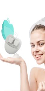 silicone face scrubber facial brush blue gray