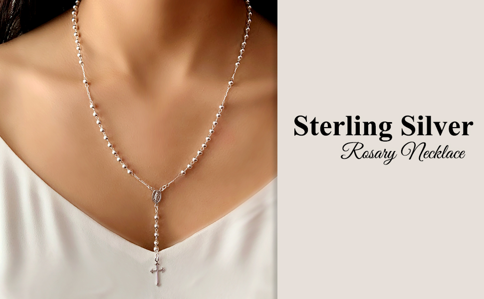 Rosary Necklace White Gold