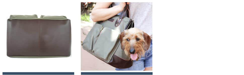 DJANGO Dog Carry Bag - Waxed Canvas and Leather Dog Pet Carrier Tote with Secure Zipper Pockets