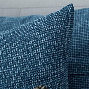 farmhouse linen burlap pillows cobalt indigo blue with vintage buttons