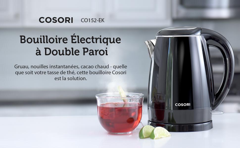 COSORI Bouilloire /Électrique de Paroi Double de 1.7L Indicateur de LED Bleue Protection Anti-/ébullition /à Sec Facile /à Nettoyer 100/% Inox en int/érieur Garantie de 2 Ans Auto- Arr/êt
