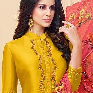 Rajnandini Chanderi Silk Semi-stitched Salwar Suit Dress Material