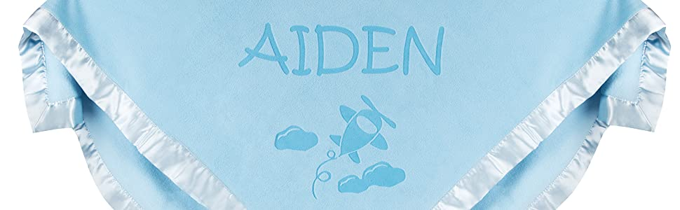 Personalized baby blanket with airplane