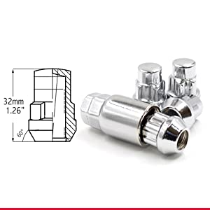 """Chrome Closed End, Bulge Acorn Lug Nut 1.26 inches Long, Wheel Lock 3/4"""" and 13/16"""" Hex"""