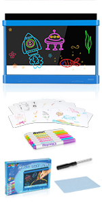 Obuby Kids Light Up Drawing Board Ultimate Magic Tracing Pad Doodle Tablet Glow Coloring Draw Writer