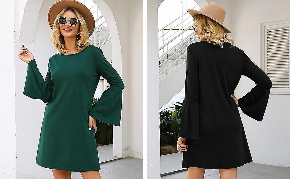 Manydress Women's Dress Long Bell Sleeve Elegant Mini Shift Party Dress