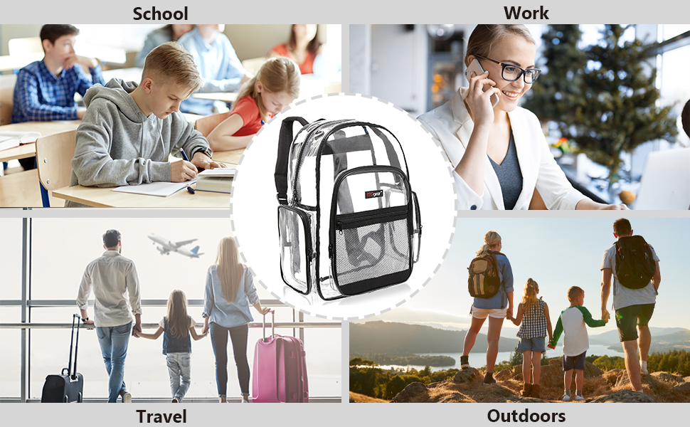 black clear backpack see-thru bag school bags book bag student travel carry on stadium bag outdoor